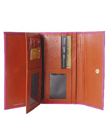 Billetera de Mujer BM-0070 Color Fucsia con Naranja