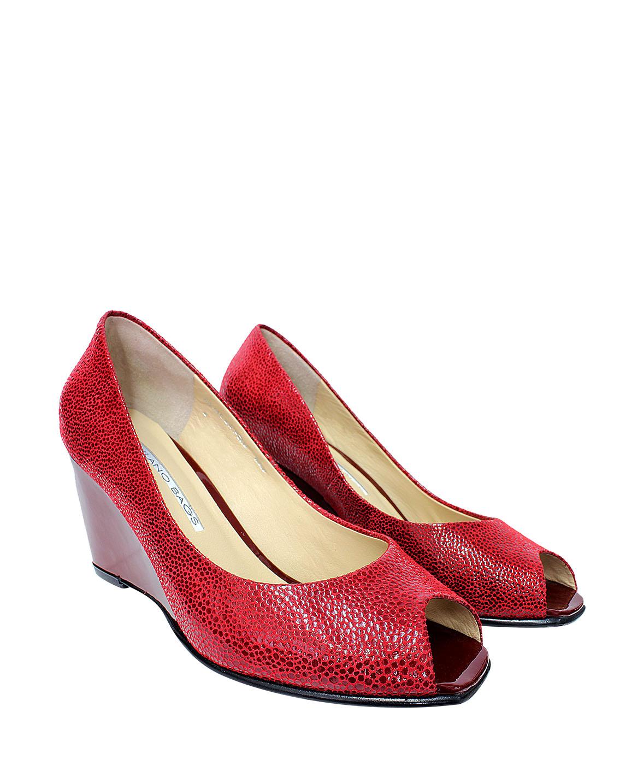 Calzado Peep Toe FRP-7709 Color Rojo