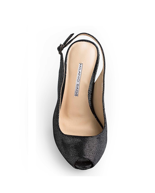 Calzado Peep Toe Plataforma FRT-6812 Color Plata Negro