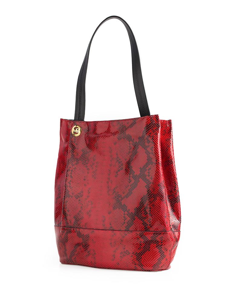 Cartera Satchel DS-2463 Color Rojo con Gamuza Negro