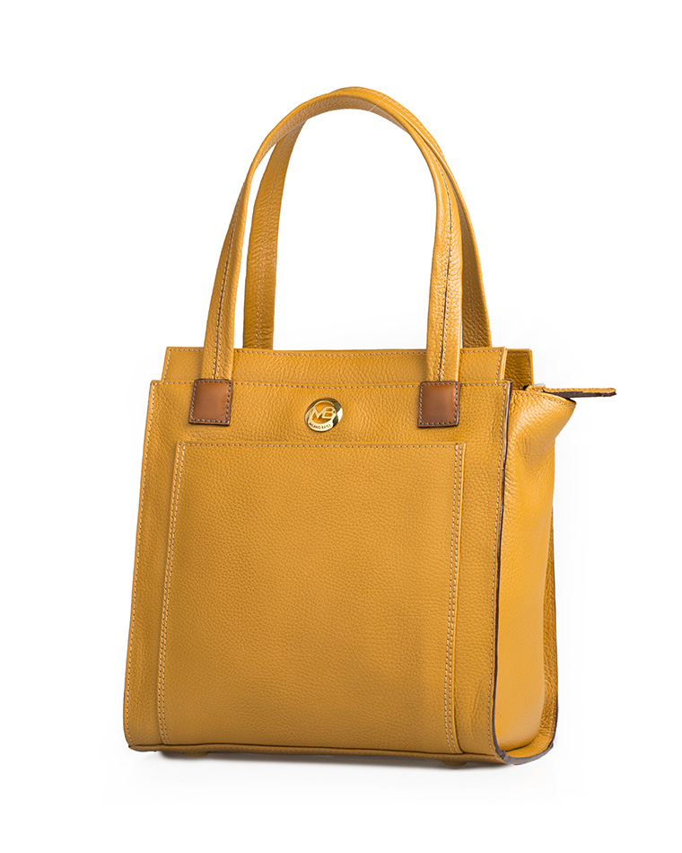 Cartera Satchel DS-2509 Color Amarillo con Natural