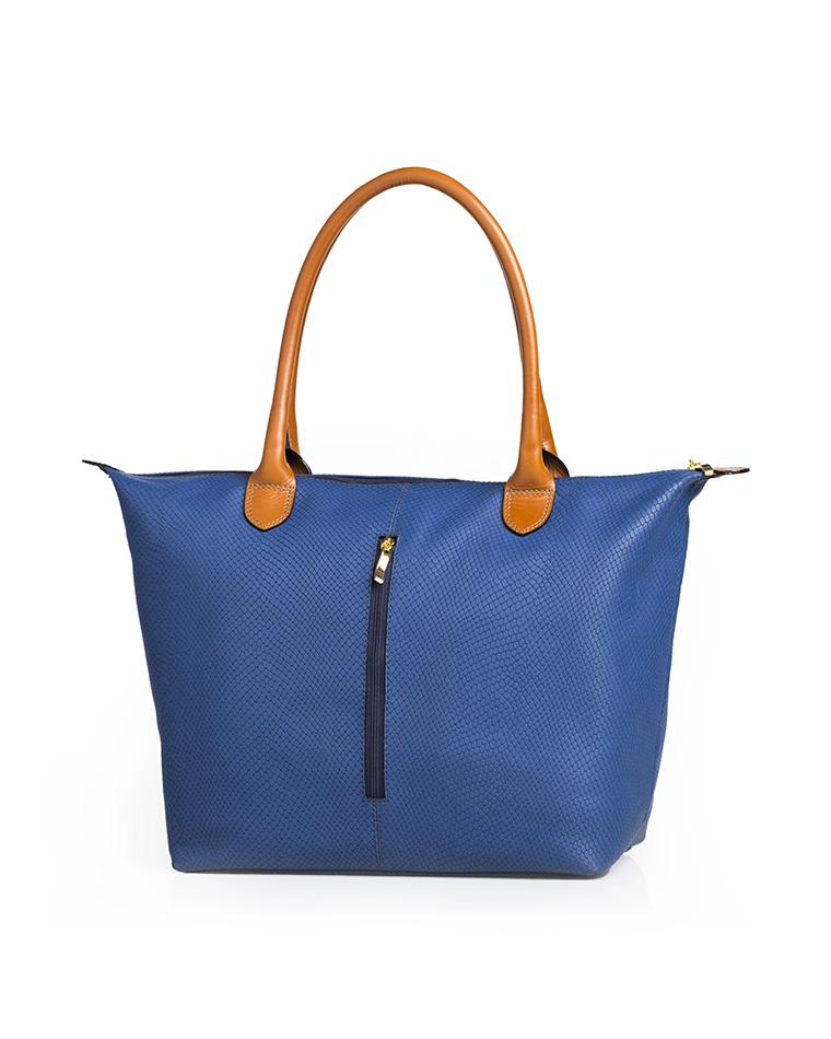 Cartera Tote Bag DS-2443 Color Azul con Natural