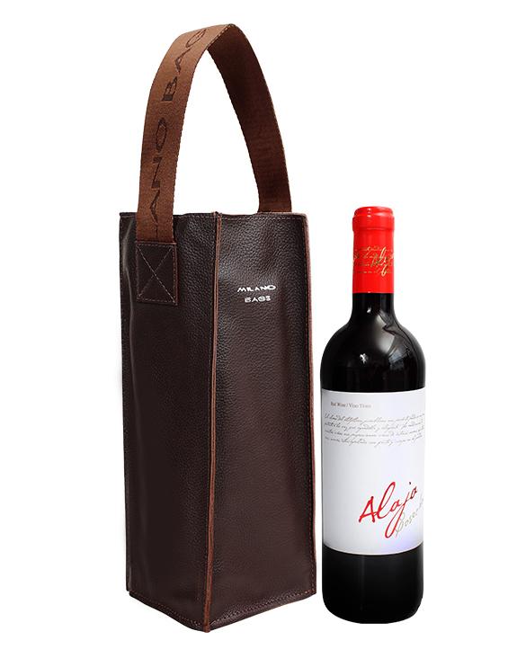 Portavino PV-0004 Color Marrón Incluye Botella de Vino Tinto Español
