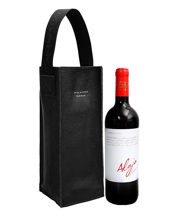 Portavino PV-0004 Color Negro Incluye Botella de  Vino Tinto Español